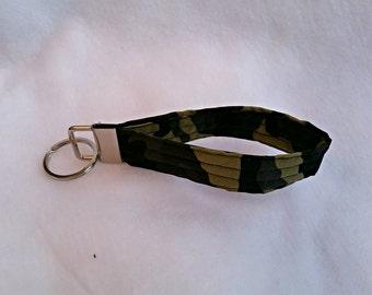 Camouflage key fob, key chain, wristlet