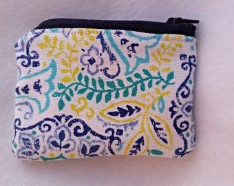 Mandala inspired coin purse,Fabric coin purse, cute coin purse