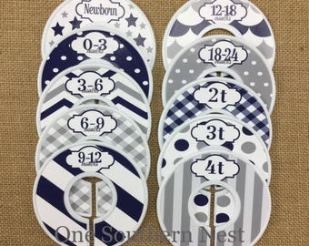 Closet Dividers, Baby Shower Gift, Infant, Baby, Toddler, Child clothing size dividers. Blue, Gray (Grey), and White