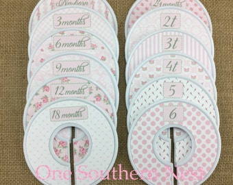 "Closet Dividers, Baby Shower Gift, Newborn Baby Gift, size dividers the perfect gift for a baby girl. ""Melissa"" in pink & white."