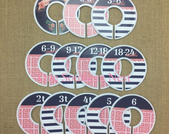 Closet Dividers, Baby Shower Gift, Infant, Baby, Toddler, Child, nursery, size dividers. Navy and coral.