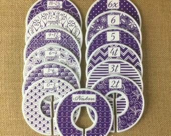 """Closet Dividers, Baby Shower Gift, Newborn Baby Gift, size dividers the perfect baby gift for any baby girl. """"Bailey"""" in purple and white."""