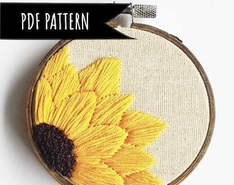 Sunflower Hand Embroidery PDF Pattern. PDF embroidery pattern. Floral Embroidery pattern. Embroidery pattern. Beginner Pattern.