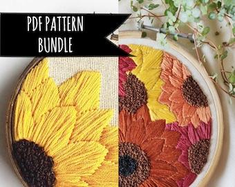 PDF Pattern Bundle Sunflower Hand Embroidery PDF Patterns. Floral Embroidery pattern. Floral hand embroidery pattern. Beginner Pattern.