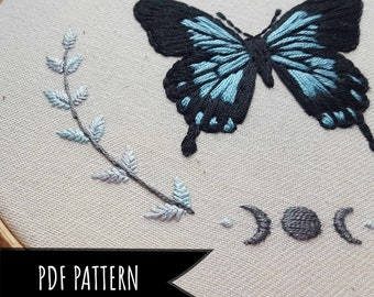 Celestial Butterfly Hand Embroidery Pattern. Floral Embroidery pattern. Embroidery pattern. PDF Pattern.
