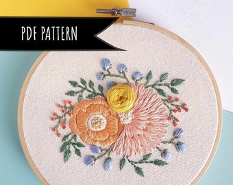 Wildflower Hand Embroidery PDF Pattern. PDF embroidery pattern. Embroidery pattern. Floral Embroidery pattern.