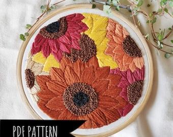 Sunflower Fields Hand Embroidery PDF Pattern. Floral Embroidery pattern. Embroidery pattern.