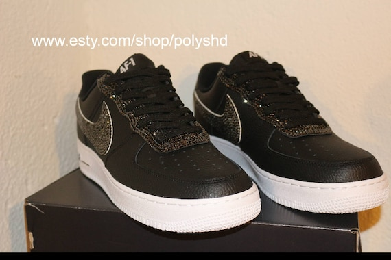 Nike af1 black gems rhinestones men women shoes sneakers  adfe459c7