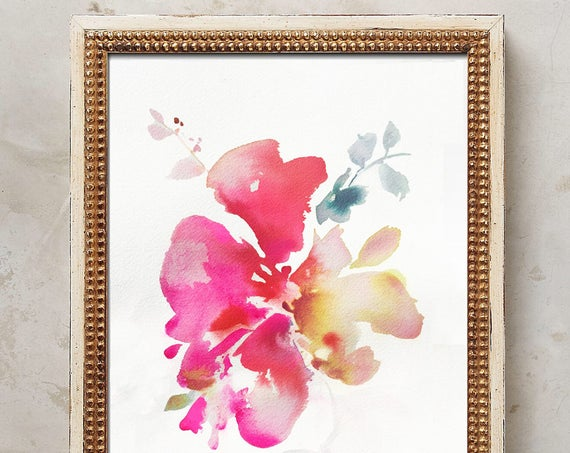 "Original painting 7""x10"", peony painting, original, peony art, peony watercolor, abstract floral painting, floral pint, floral art, wall art"