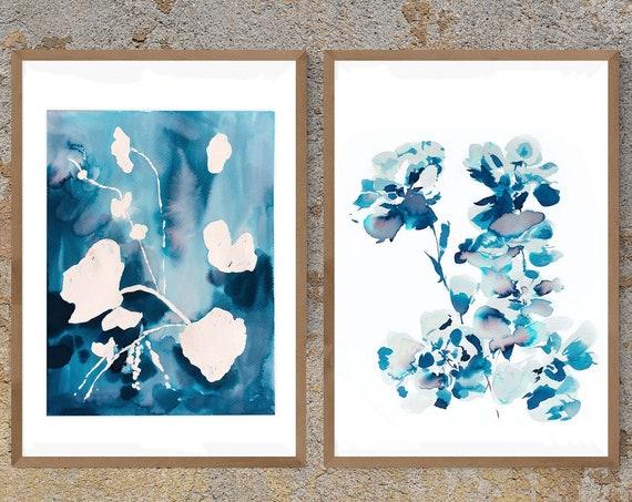 Original, Set of 2, Indigo painting, indigo dye, indigo floral, 11x14, Watercolor, painting, blue painting, floral print, indigo dye