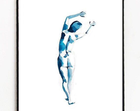 Female nude painting, figure painting, watercolor figure, watercolor, woman, female watercolor, abstract floral painting, original artwork