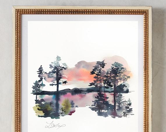 Maine painting, lake landscape, Connecticut watercolor, lake painting, landscape watercolor, blue painting, maine print, vermont