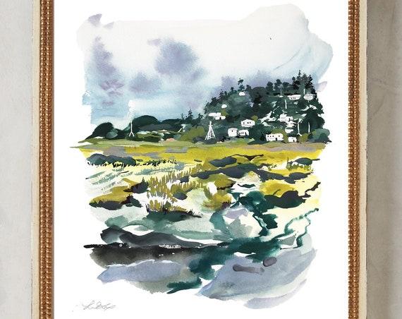 Original landscape, California landscape, mill valley watercolor, lake painting, landscape watercolor, blue painting, california print