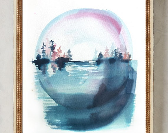 Original, maine painting, lake landscape, Connecticut watercolor, lake painting, landscape watercolor, blue painting, maine print, vermont