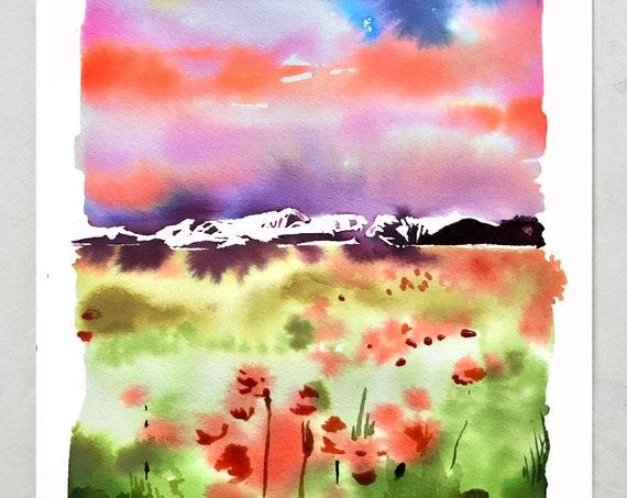 Lake painting, lake watercolor, watercolor minnesota, watercolor lake, watercolor paintings, prints for bedroom
