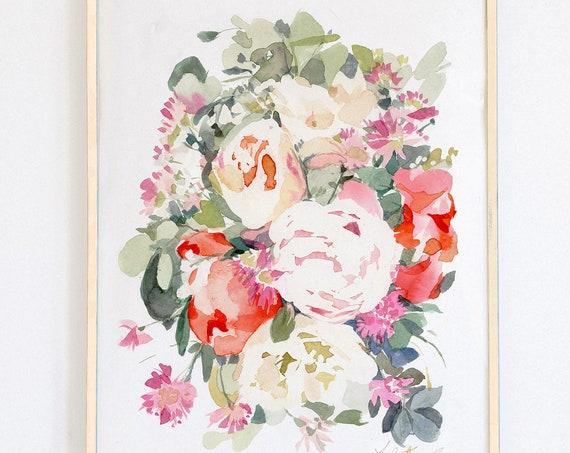 "Original 11"" x 14"", peony painting, watercolor, peony art, peony watercolor, abstract floral painting, floral pint, floral art, wall art"