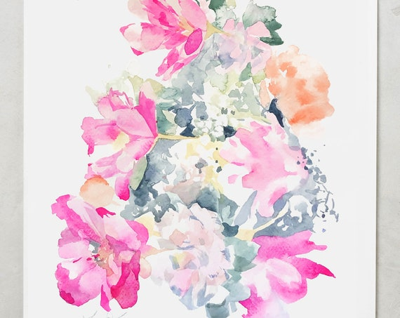Peony print, wedding bouquet painting, peony art, watercolor, abstract floral painting, floral print, floral art, wall art, pink floral