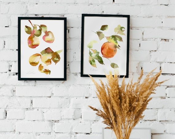 Set of 2 prints, wall decor for the kitchen, oranges painting, fruit watercolor, set of 2 fruit paintings, kitchen wall art,