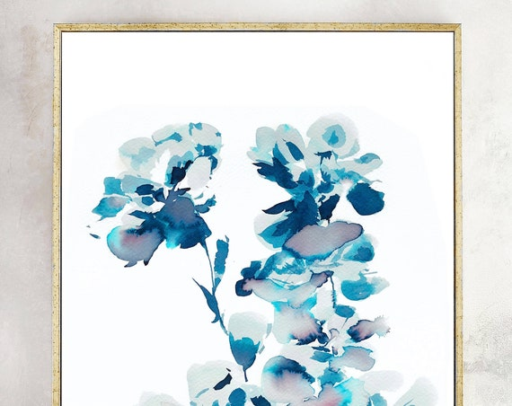 Original, Indigo painting, indigo dye, indigo floral, 11x14, Watercolor print, original painting, blue painting, floral print, indigo dye