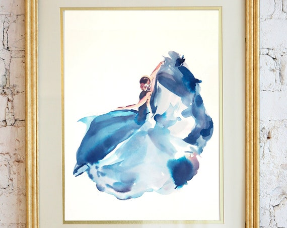 Watercolor dancer, dance painting, dance art, woman watercolor, abstract figure painting, floral dancer, dance art, wall art