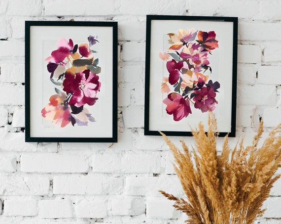 Set of 2 prints, peony painting, peony art, peony watercolor, abstract floral painting, floral print, floral art, wall art, pink floral