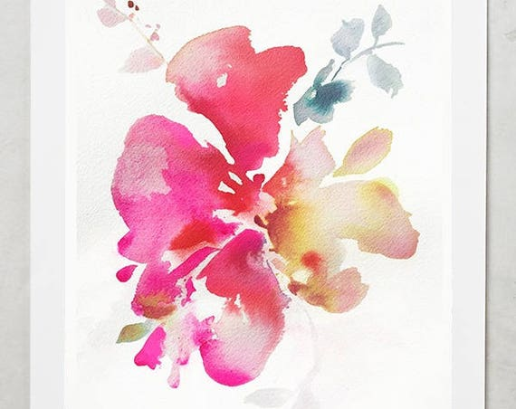 Watercolor print, peony painting, peony art, peony watercolor, abstract floral painting, floral print, floral art, wall art, pink floral