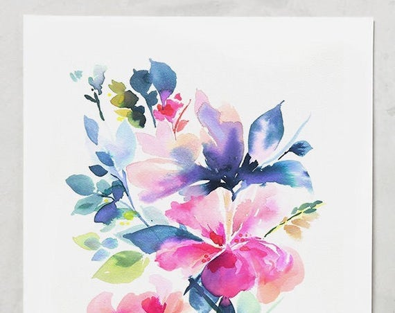 Watercolor print, peony painting, peony art, peony watercolor, abstract floral painting, floral pint, floral art, wall art