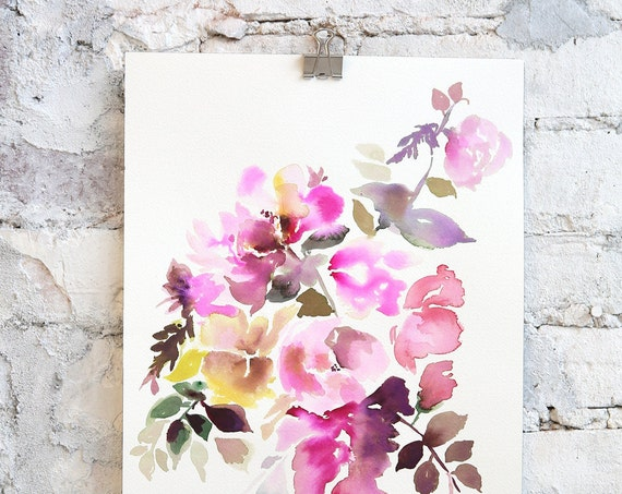 "Original 10"" x 14"", Watercolor painting, floral painting, floral decor, peony watercolor, abstract floral, floral pint, floral art, wall art"
