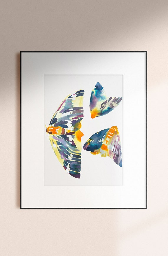 Moth print, moth watercolor, butterfly print, insect painting, abstract moth painting, yellow wings, wall art, abstract watercolor painting