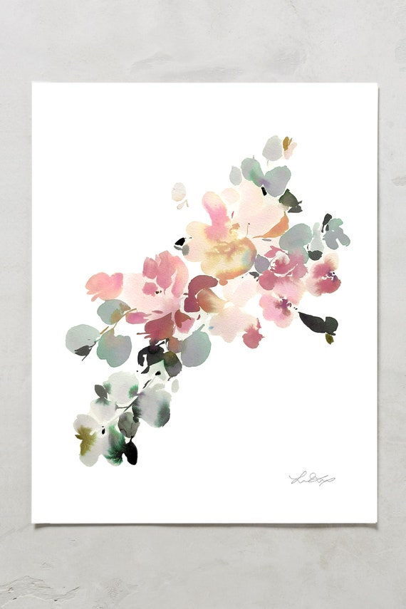 Floral watercolor print, floral painting, peony painting, peony watercolor, abstract floral painting, floral pint, floral art, wall art