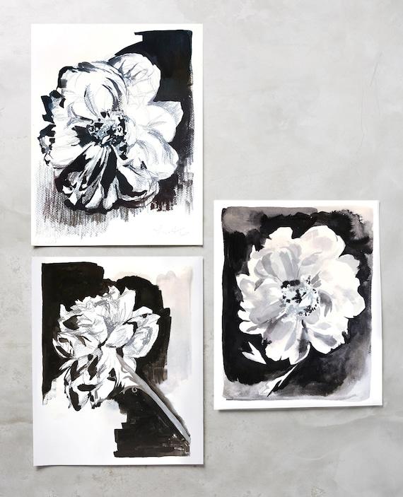 Black and white florals, black peonies, black and white floral painting, black and white decor