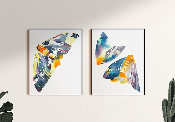 Set of 2 watercolor, moth watercolor, moth painting, butterfly watercolor, set of 2 butterfly paintings, butterfly wall art, insect art