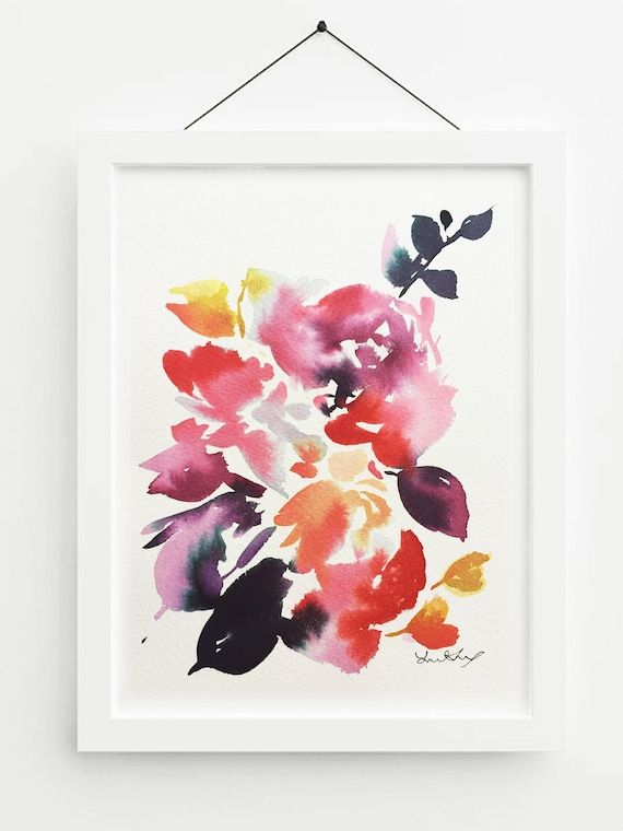 "Original painting, 5.5"" x 7"" , original painting, pink, blue, peony art, peony watercolor, abstract floral painting, floral pint, floral art"