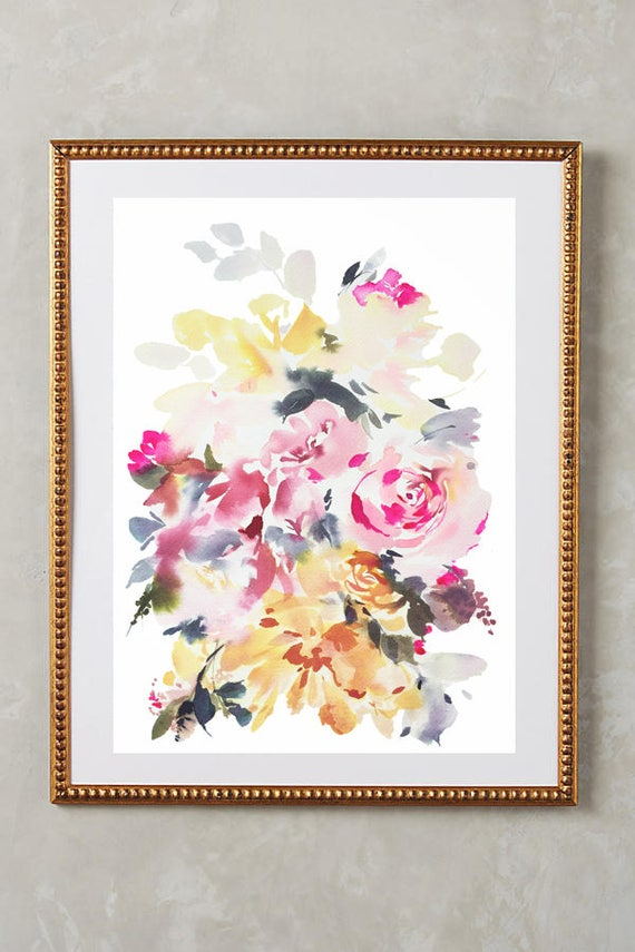 "Original 10"" x 14"", peony painting, watercolor, peony art, peony watercolor, abstract floral painting, floral pint, floral art, wall art"