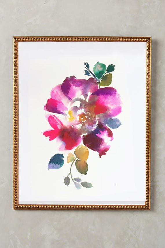 "Original 8"" x 10"" , original painting, pink, blue, peony art, peony watercolor, abstract floral painting, floral pint, floral art, wall art"
