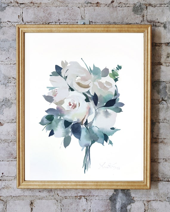 White roses, white roses painting, mothers day painting, floral painting, rose painting