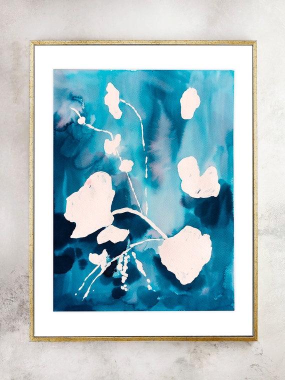 Original, Indigo painting, indigo dye, indigo floral, 11x14, Watercolor print, original painting, blue painting, floral print, blue decor
