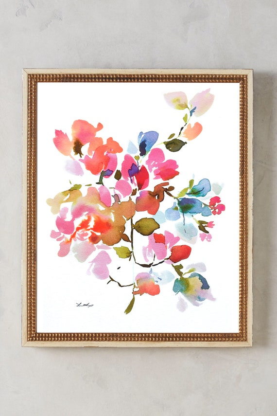 Watercolor print, peony, peony painting, print, peony art, peony watercolor, abstract floral painting, floral pint, floral art, wall art