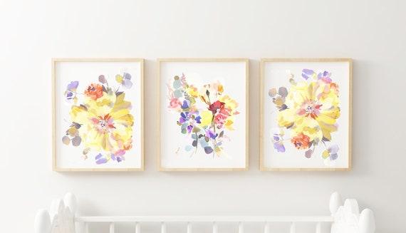 Yellow nursery, nursery set of paintings, yellow flower nursery, yellow girl nursery, yellow and purple baby room, watercolor baby room,