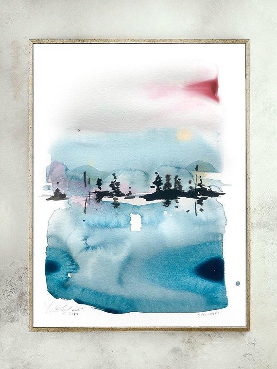Original, maine painting, lake landscape, New England watercolor, lake painting, landscape watercolor, blue painting, maine print, vermont