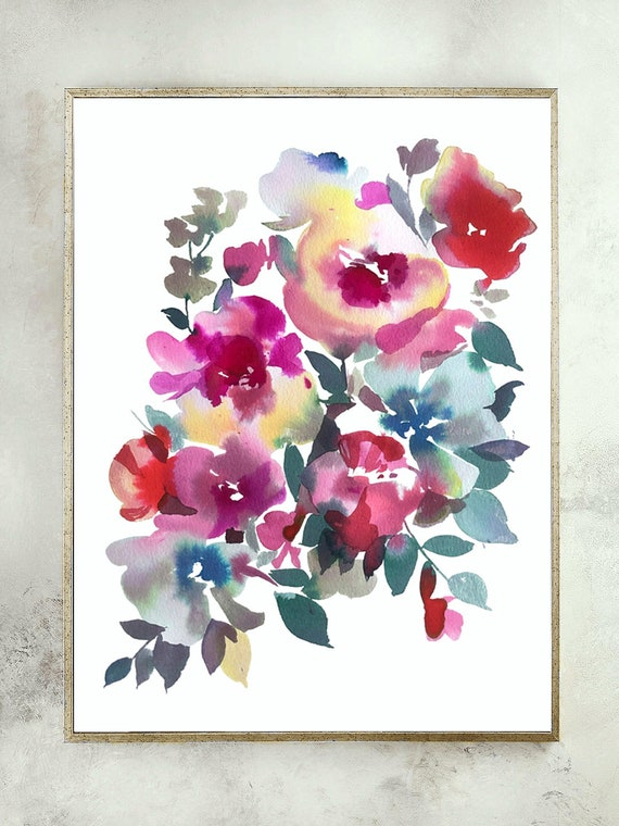 "Original 12"" x 16"", peony painting, watercolor, peony art, peony watercolor, abstract floral painting, floral pint, floral art, wall art"