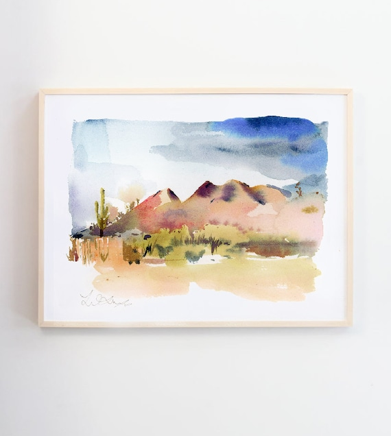 desert mountain watercolor, Colorado painting, mountain art, landscape watercolor, mountain painting, mountain art, wall art, pink floral