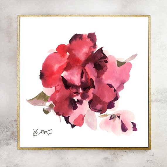Floral watercolor, peony painting, peony art, abstract floral watercolor, pink flower painting, floral art, wall art, pink rose painting