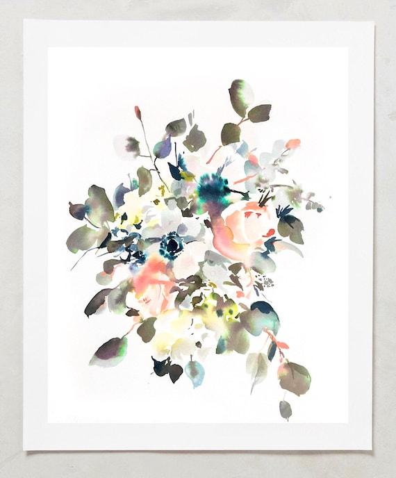 "Original 12"" x 16"", peony painting, watercolor, peony art, peony watercolor, abstract floral painting, floral pint, floral art, wall art"