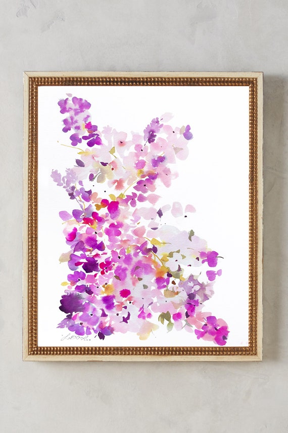 lilac painting, gift for girlfriend, original painting, lilac art, sister gift, lilac watercolor, abstract floral painting, floral pint, flo
