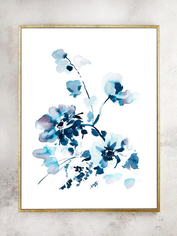 Floral prints, Indigo painting, indigo dye, indigo floral, 11x14, Watercolor, original painting, blue painting, floral print, wedding gift