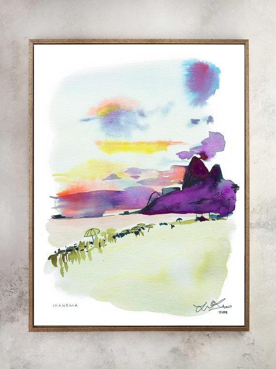 Beach painting, rio painting, ipanema painting, copacabana painting, beach watercolor painting, brazil watercolor painting, brazil painting