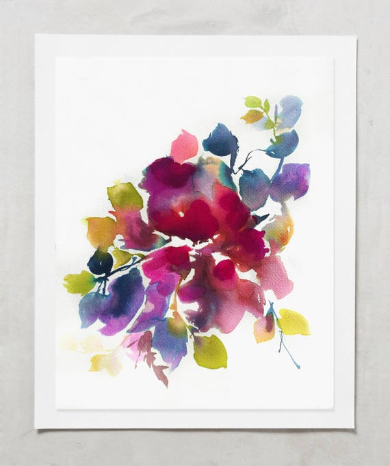 "Original 9"" x 12"" , original painting, pink, blue, peony art, peony watercolor, abstract floral painting, floral pint, floral art, wall art"
