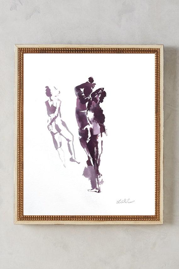 Female figures, watercolor figure, painting, watercolor, woman art, female watercolor, abstract floral painting, original artwork