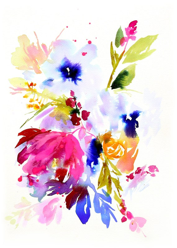 Floral painting, pink and salt, abstract floral painting, floral watercolor, floral original painting, peony watercolor, floral decor